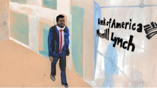 Illustration of Thupayal Hussain outside Bank of America Merrill Lynch