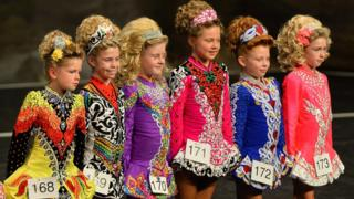 A line of competitors await a result, All-Ireland Dance Championship, Belfast, 1 November 2016