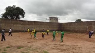 Ex-Boko Haram members play football in prison in Nigeria