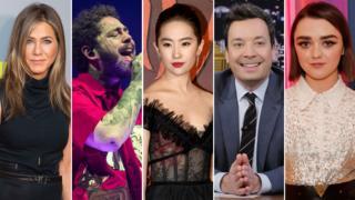 Jennifer Aniston, Post Malone, Yifei Liu, Jimmy Fallon and Maisie Williams