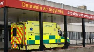 Glan Clwyd Hospital A&E with ambulance outside