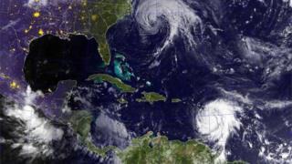 Satellite image of Hurricanes Jose and Maria