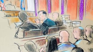 ロシア疑惑捜査から銀行詐欺罪などで起訴され、初公判に出廷したマナフォート氏の法廷スケッチ(31日、米バージニア州アレキサンドリア)