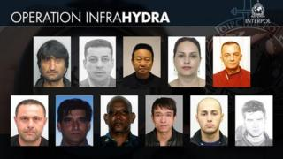 Interpol photos of 11 people from various countries accused of serious people smuggling offences