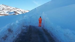 Tackling drifting snow on the Bealach na Ba