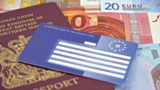 EHIC card, passport and euros
