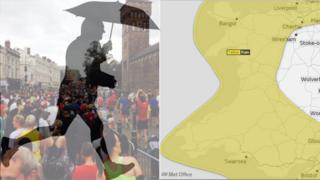 Weather warning map and image of half-marathon runners in Cardiff, with graphic of a man running with an umbrella superimposed