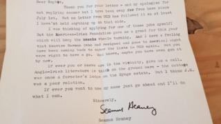 Letter from Seamus Heaney to Sophia Hillan