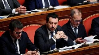 Matteo Salvini in the Italian senate