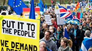 Anti-Brexit 'Put it to the People' march to demand a public vote on the final outcome of Brexit on 23rd March