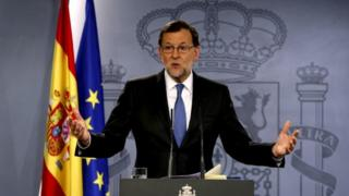 Spanish acting Prime Minister Mariano Rajoy during a news conference in Madrid, Spain, 26 April