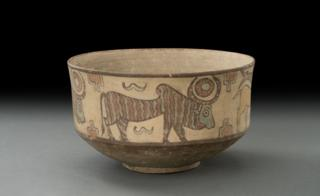 A terracotta pot with a bull and other animals on it, 3500–2800 BC
