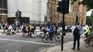 Cyclists hit by car