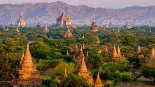 Sunrise landscape view with silhouettes of old temples, Bagan, Myanmar