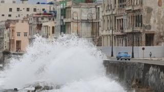 Waves splash at the seafront Malecon during the passage of theTropical Storm Laura in Havana, Cuba
