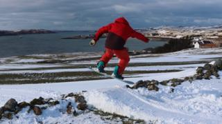 Snowboarding in the north west coast village of Aultbea