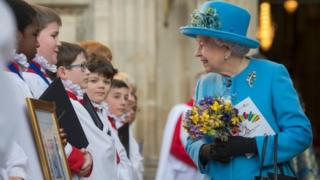 Queen Elizabeth II is pictured as she attends a Commonwealth Service in Westminster Abbey in central London, on March 14, 2016