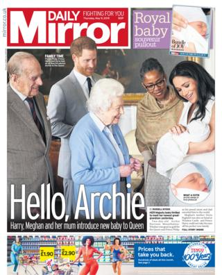 Daily Mirror front page 09/05/19