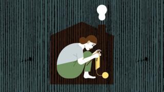 Ilustración de una mujer encerrada en casa calcetando.