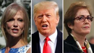 Donald Trump Composite image of Kellyanne Conway, Donald Trump, Marie Yovanovitch