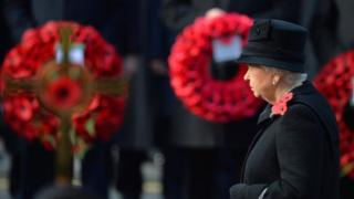 Queen Elizabeth at Remembrance Sunday service at the Cenotaph, London