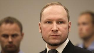 Anders Behring Breivik listens to the judge in the courtroom, in Oslo, Norway. 24 August 2012