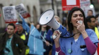 Demonstrators at junior doctors protest in London in February 2016