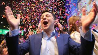 Volodymyr Zelensky celebrates in Kiev. 21 April 2019