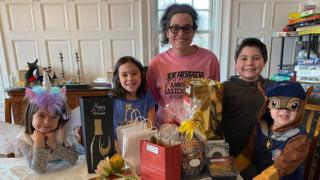 Tamar Weinberg and her four children at home
