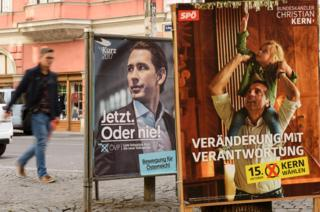 Election posters in Vienna, 12 Oct 17