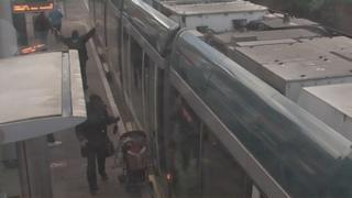 CCTV showing the pushchair in the tram door