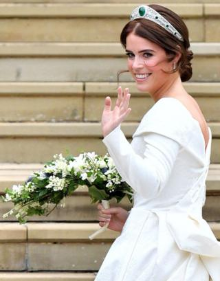 The bride Princess Eugenie of York arrives in her car for her Royal wedding