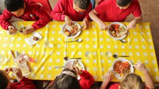 Pupils eating healthily as part of the School Food Plan