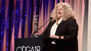 Jenny Beavan accepting her Costume Designers Guild Award