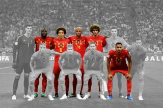 Belgium football team lining up before a match against Brazil