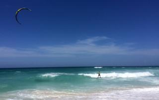 A kite surfer