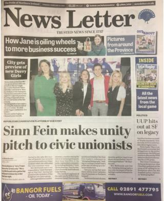 front page News Letter Tuesday 19 February 2019