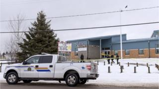 An RCMP vehicle outside the school where the shooting took place in January 2016