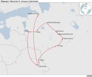 Карта передвижения Николая II