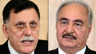 Libya Başbakanı el-Sarraj (solda) Trablus'u Halife Hafter'ın (sağda)güçlerine karşı savunacağını açıkladı