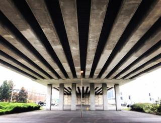 Under the Oxford ring road flyover in Cowley