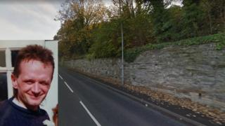 An inset of Paul Roberts over a picture of the A548 near Mostyn