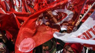 People cheer and wave flags as Turkey's President Recep Tayyip Erdogan delivers a speech on the eve of the constitutional referendum in Istanbul, 15 April 2017