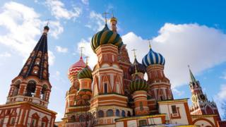 The Saint Basil's Cathedral on the Red Square in Moscow on a sunny summer day