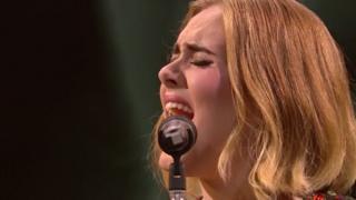 Adele performs at Glastonbury