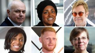 Iain Duncan Smith, Nadiya Hussain, Sir Elton John, Sharon White, Ben Stokes and Alison Saunders