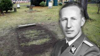 Berlin grave with head of Reinhard Heydrich inset