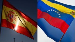Bandera es España y de Venezuela en un collage de dos fotos.
