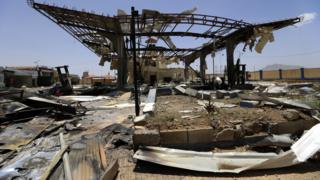 Destroyed petrol station in Sanaa