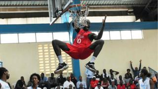 South Sudan's Makuei Puondak during a Fiba Afrobasket 2021 pre-qualifier basketball match between Somalia and South Sudan in Nairobi on 14 January 2020
